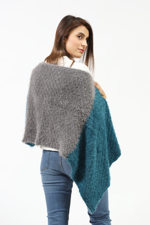 Double Color Fur Knit Shawl