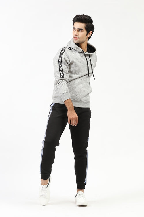 Grey Hoodie With Logo Striped Sleeves