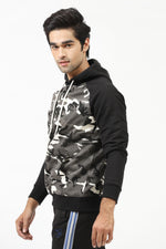 Camouflage Hoodie With Solid Sleeves