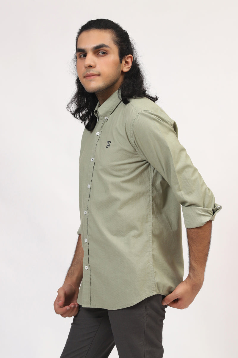 Light Olive Green Casual Shirt