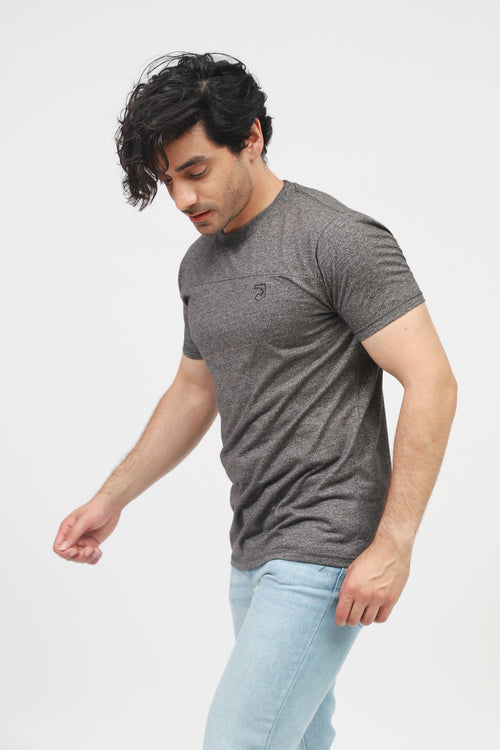 Charcoal Melange Grey Round Neck Tee
