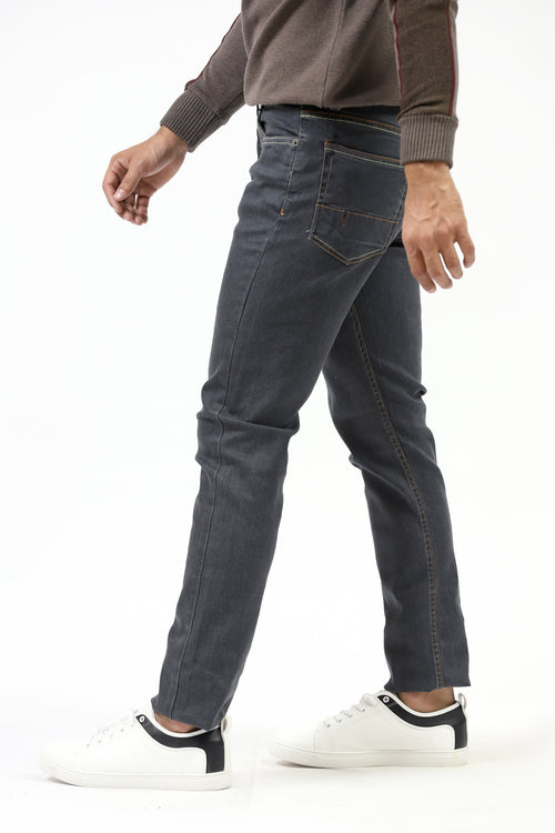 Faded Jeans With Contrast Stitching