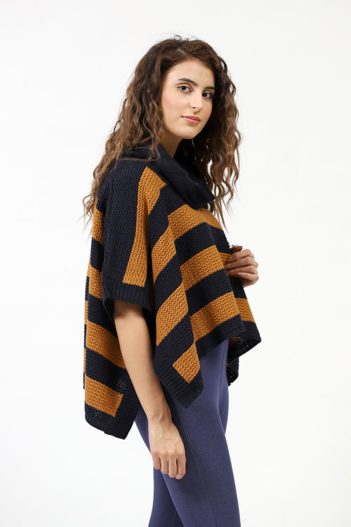 Coil Neck Striped Poncho