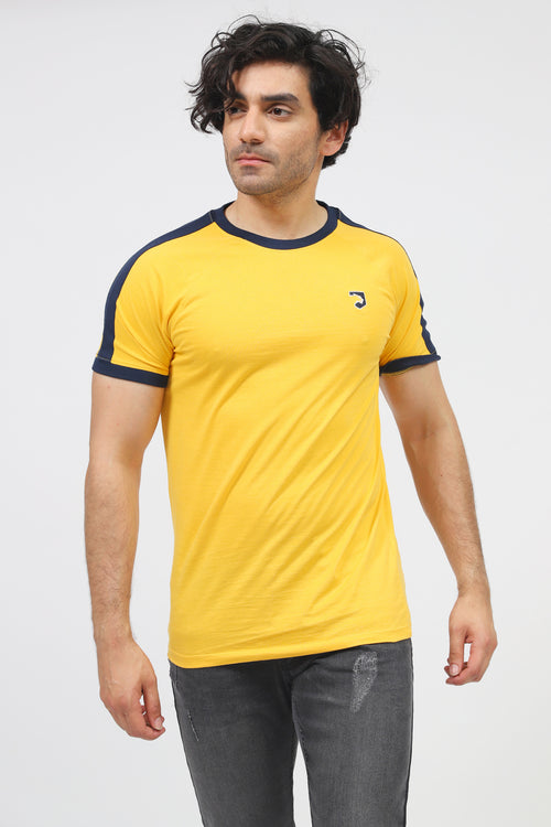 Yellow Round Neck Tee With Contrast Shoulder Stripes