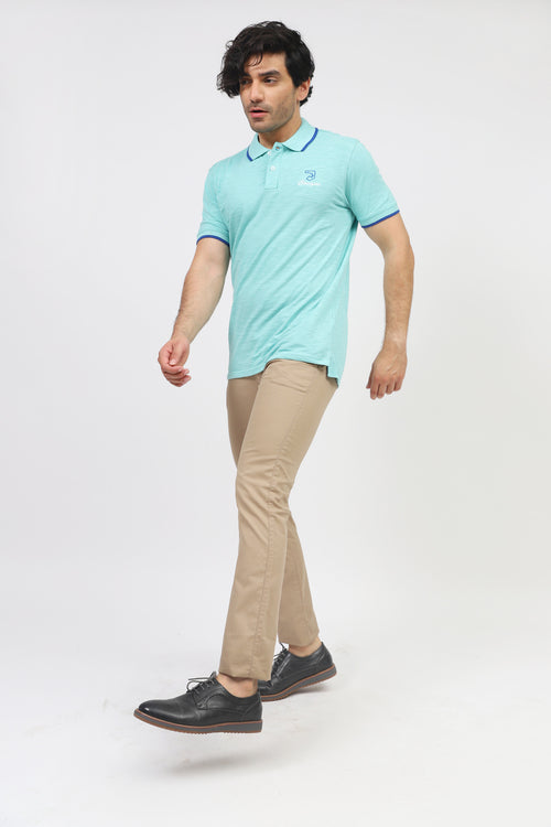 Aqua Blue Melange Polo