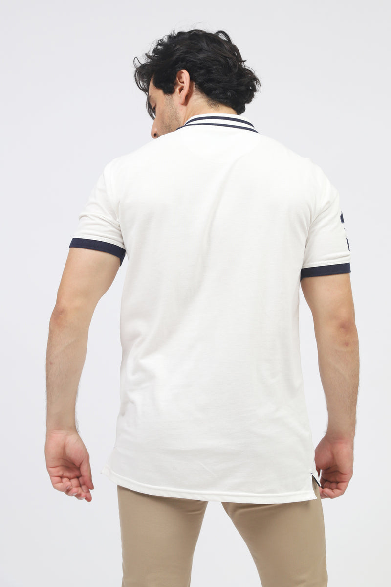 White Polo With Contrast Stripe