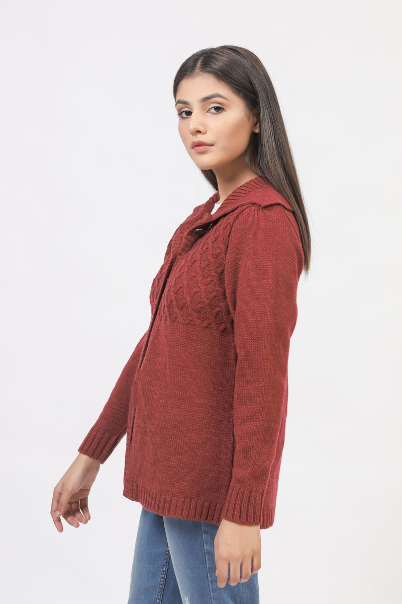 Maroon Cardigan With Cable Bodies