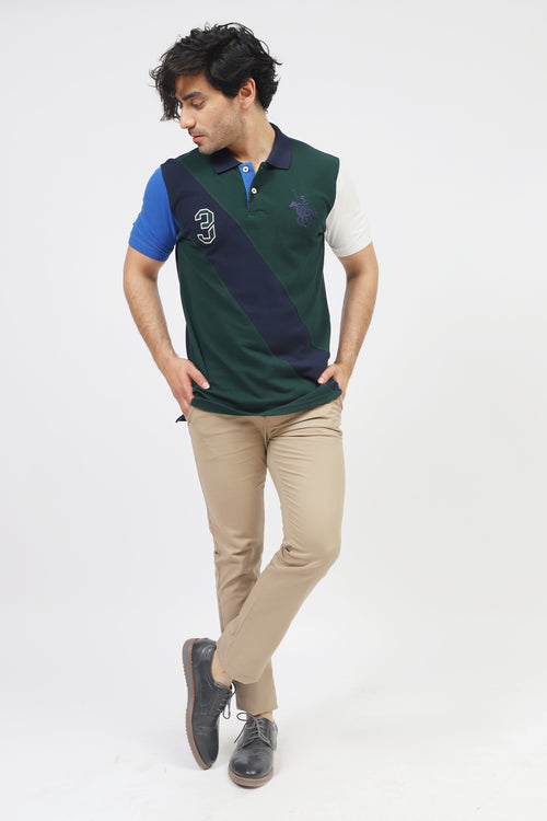 Green Polo With Contrast Stripe