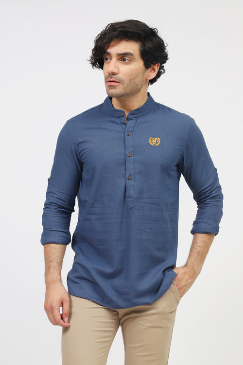 Blue Half Ban Placket Casual Shirt