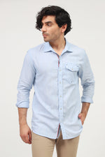 Blue Front Pocket Casual Shirt