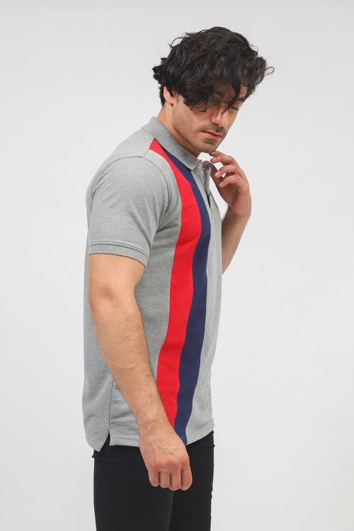 Grey Vertical Striped Polo