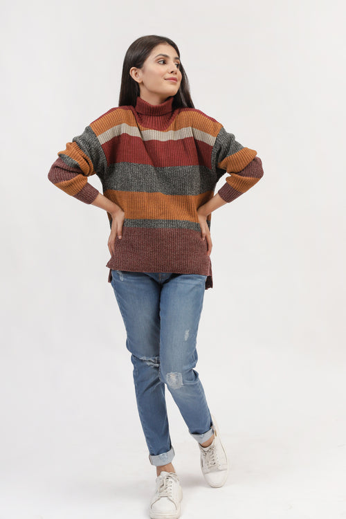 Color Block High Neck Pullover