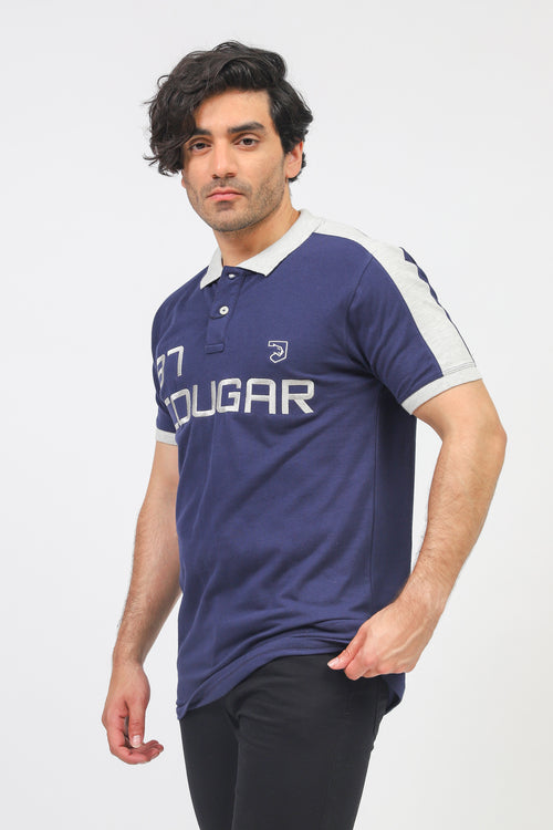 Navy Cougar Logo Polo