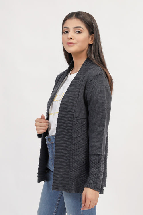 Grey Front Opened Sweater