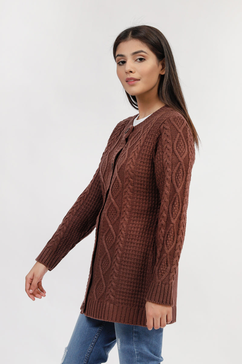 Brown Cable Knit Cardigan