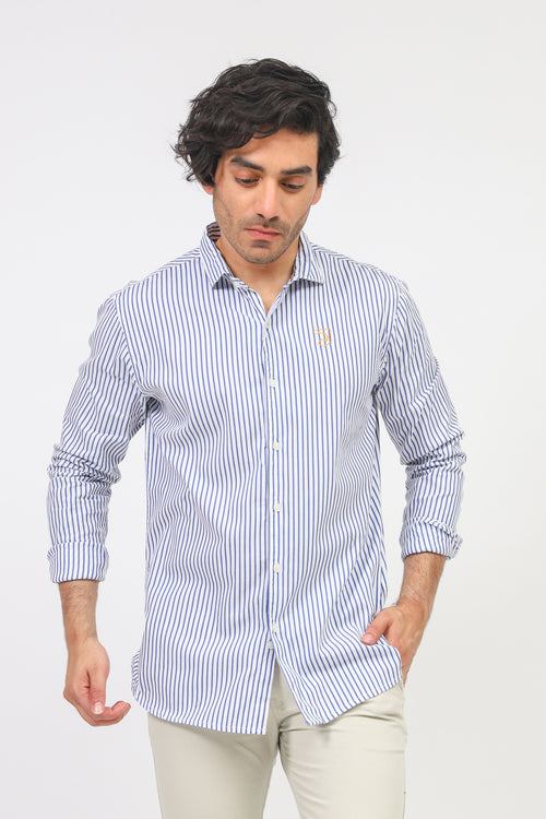Blue Pin Striped Casual Shirt