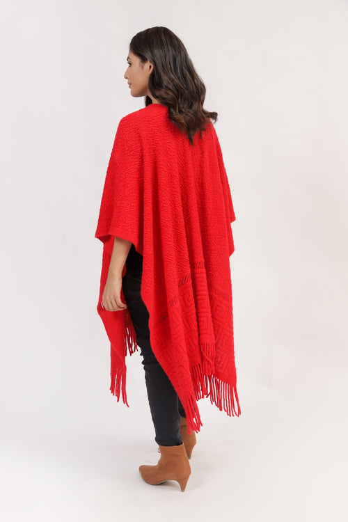 Textured cape Shawl With Tussle