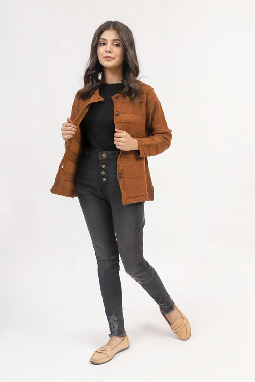 Brown Cardigan With Textured Stripes