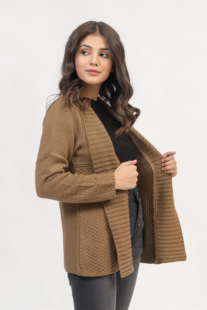 Brown Front Opened Sweater