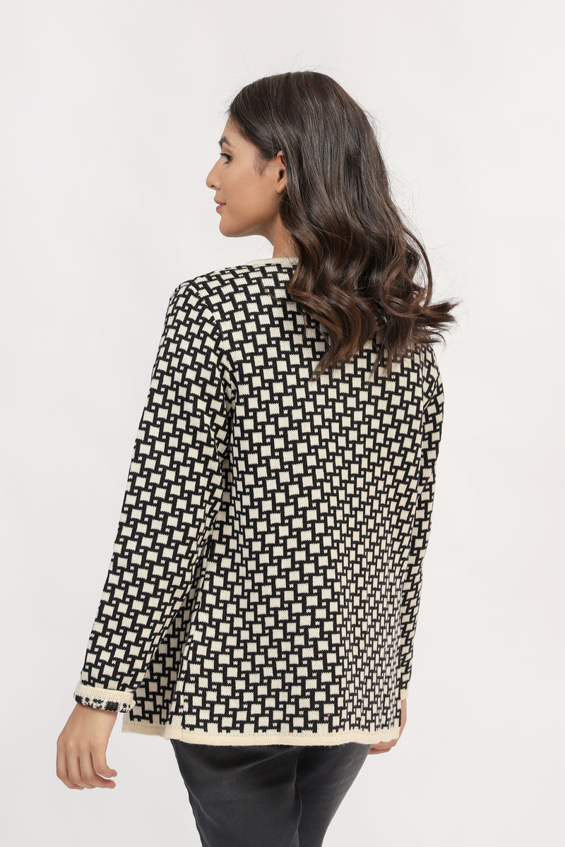 Cardigan With Black & White Jacquard Check
