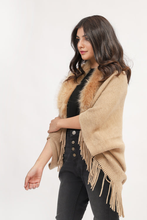 Skin Cape Shawl With Fur
