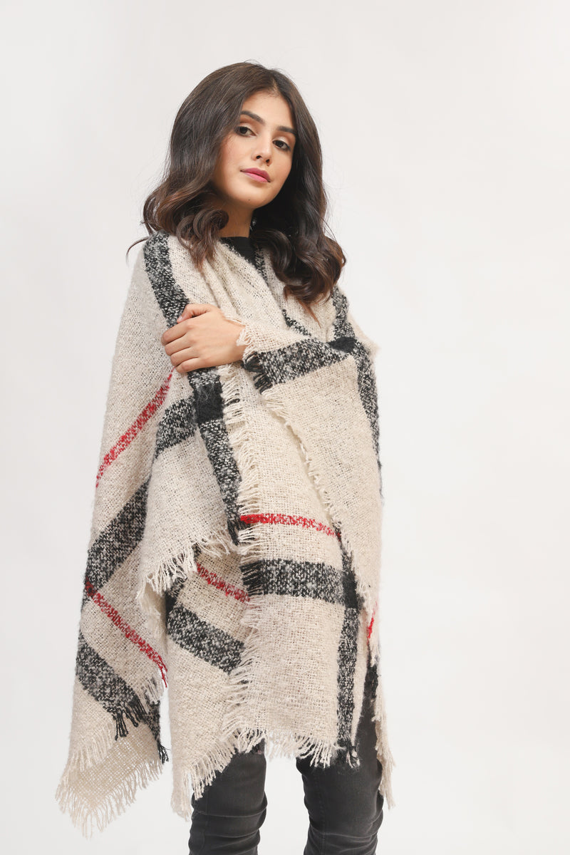 Checkered Cape Shawl
