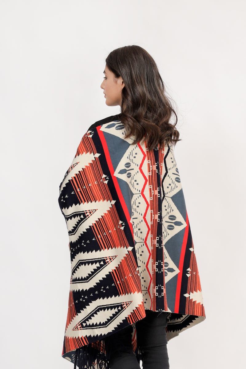Sleeved Cape Shawl With Ethnic Pattern