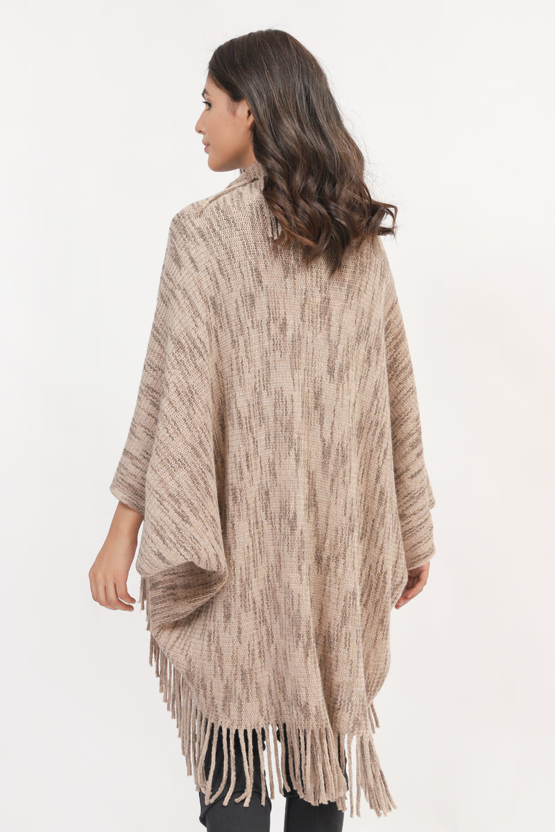 Textured Cape Shawl With Tassles
