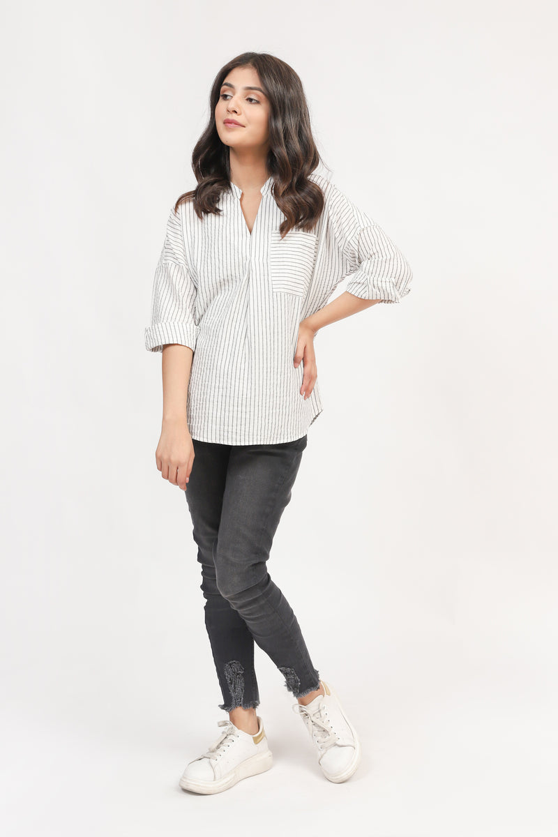 White Striped Basic Top