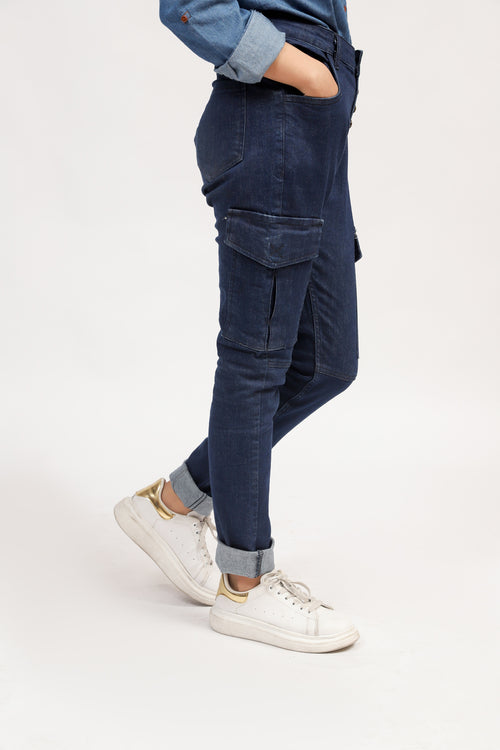 High Rise Jeans With Side Pockets