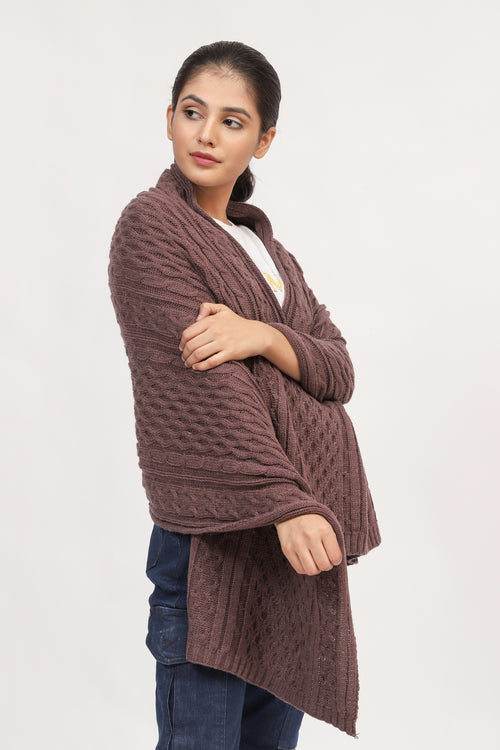 Wine Brown Cable Knit Shawl