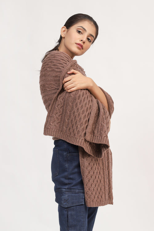 Brown Cable Knit Shawl