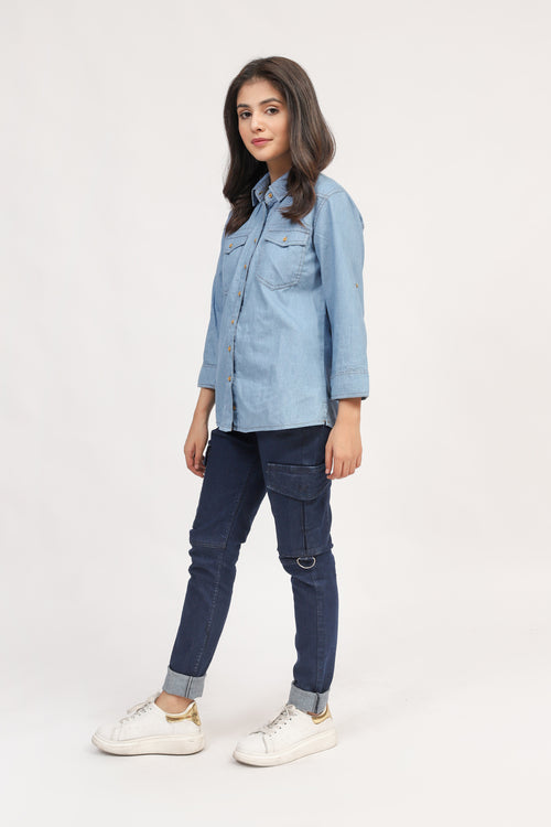 Over Dyed Denim Collar Shirt