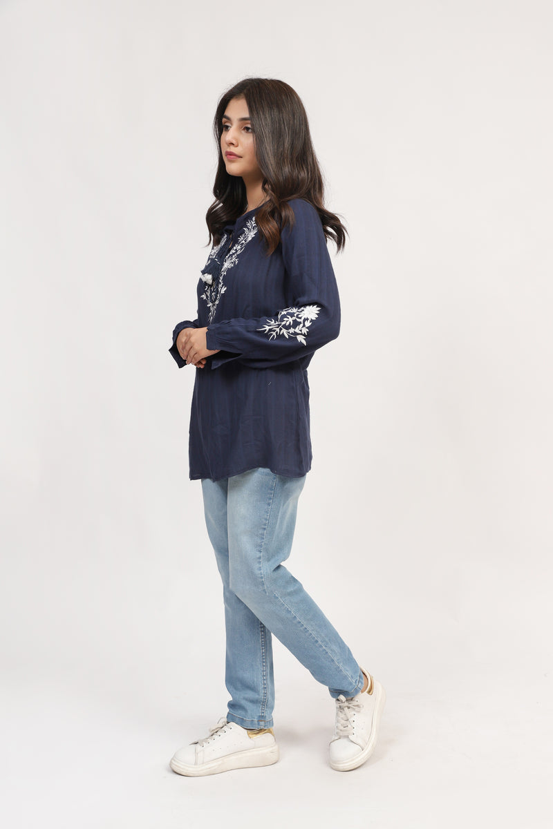 Navy Top With Embroidered Neckline