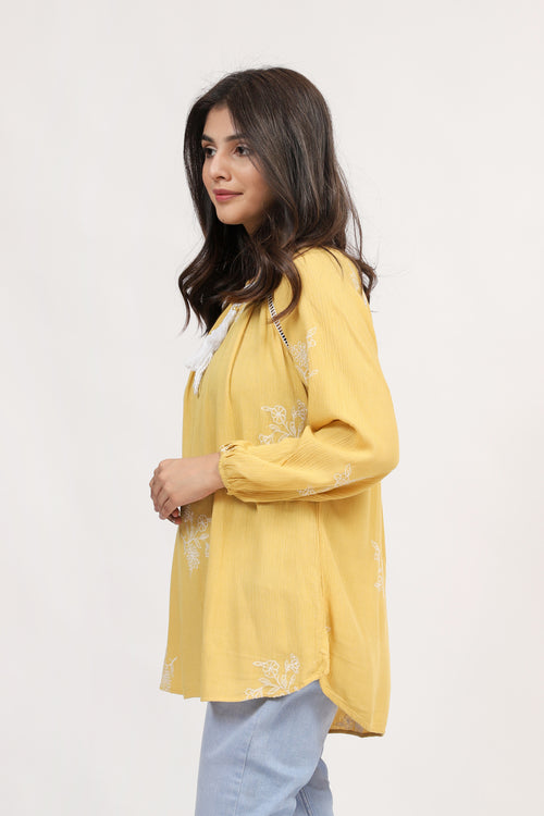 Yellow Embroidered Top