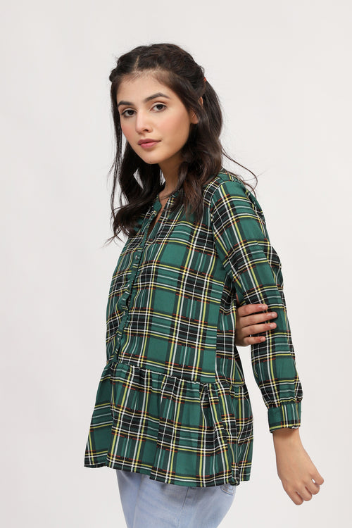 Checkered Peplem Top