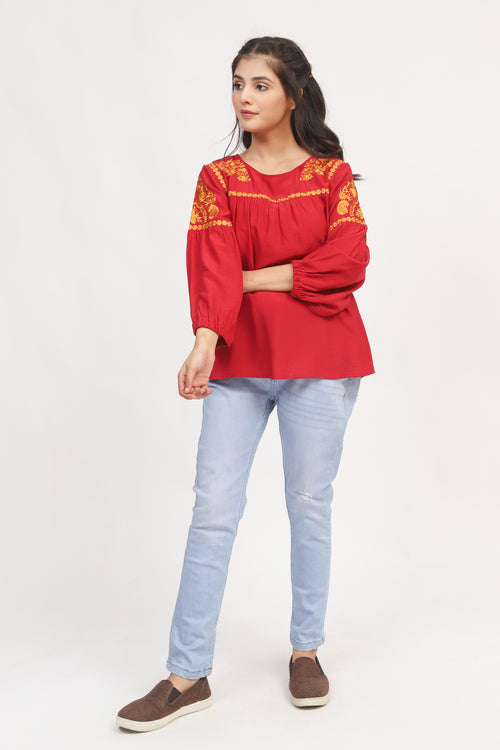 Red Ethnic Embroidered Top
