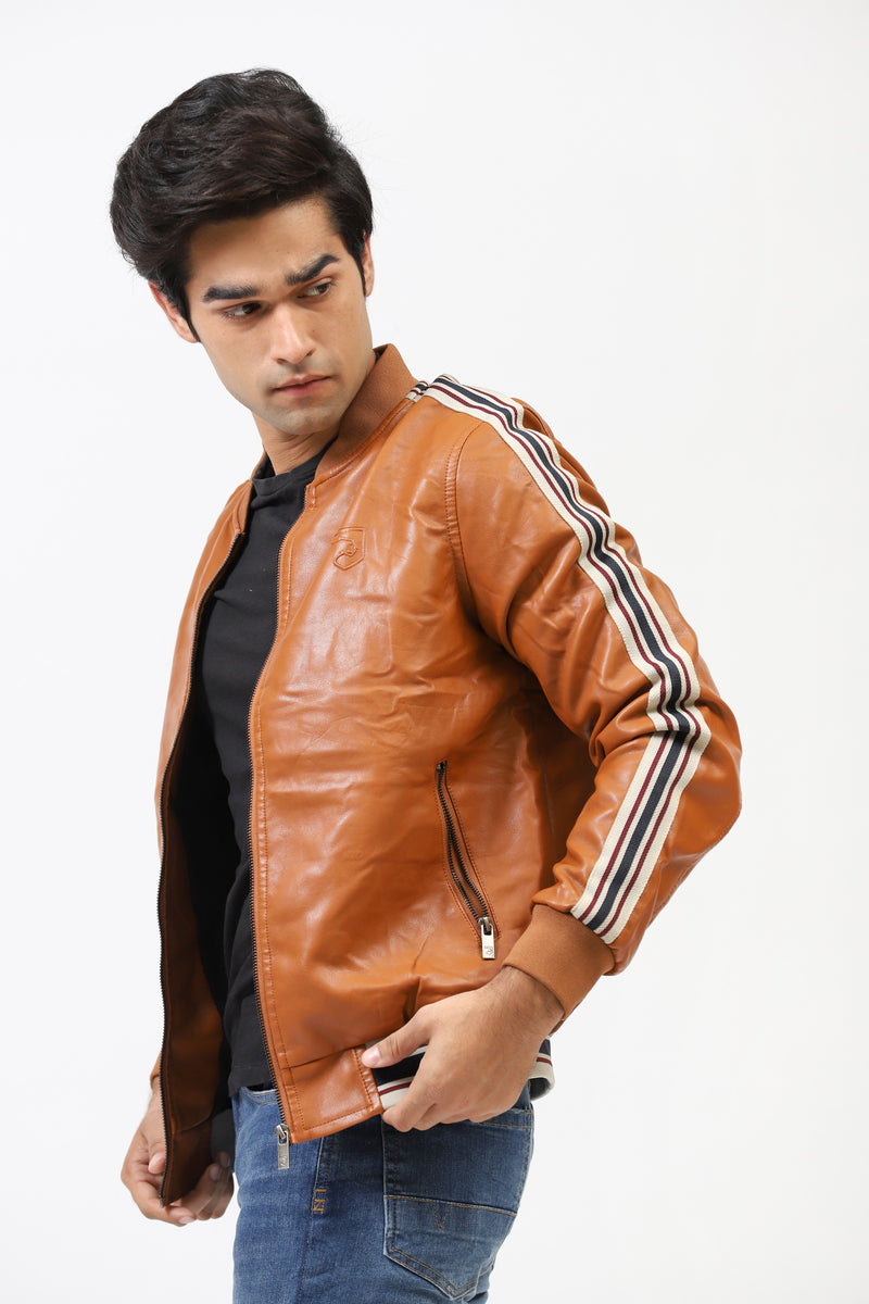 Terracotta Faux Leather Jacket With Contrast Tape Sleeves