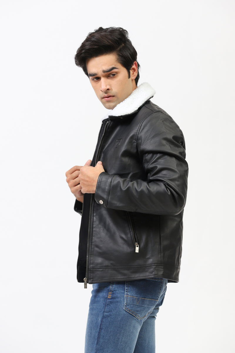 Faux Leather Jacket With Detachable Sherpa Collar