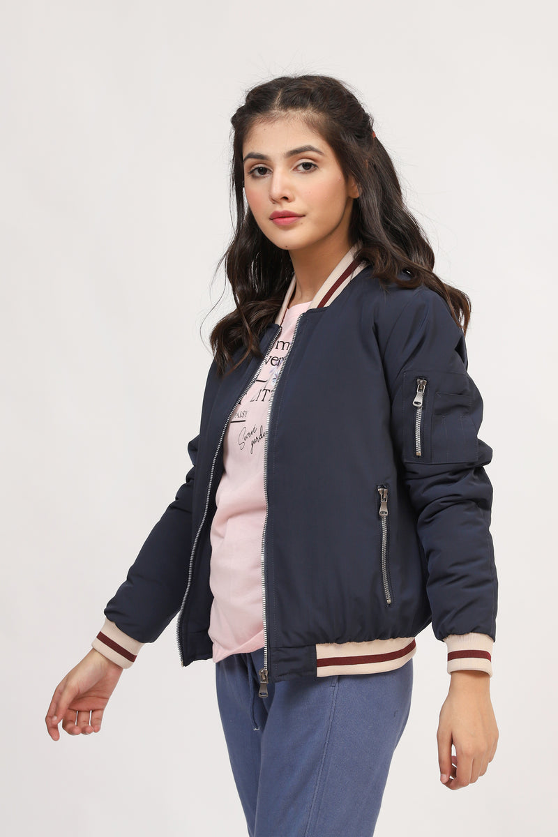 Bomber Jacket With Contrast Rib