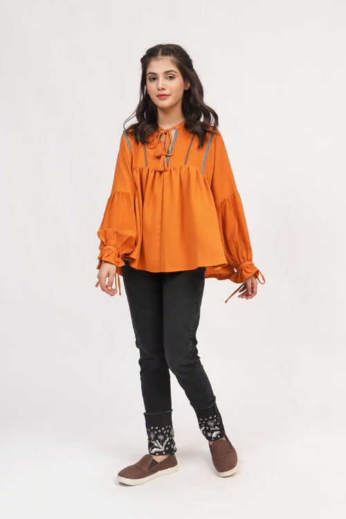 Boho Style Top With Gathered Sleeves