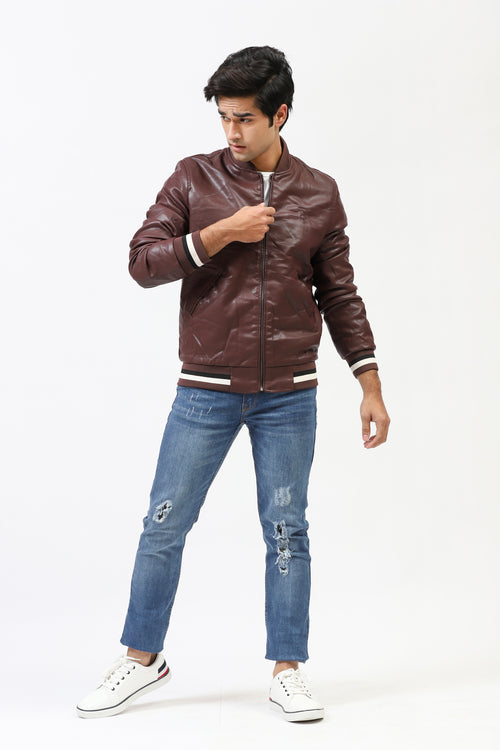 Coffee Bomber Jacket With Contrast Sleeve Bands
