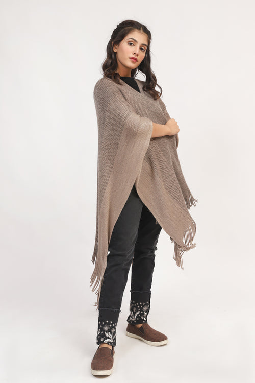 Beige textured Cape Shawl With Tussle
