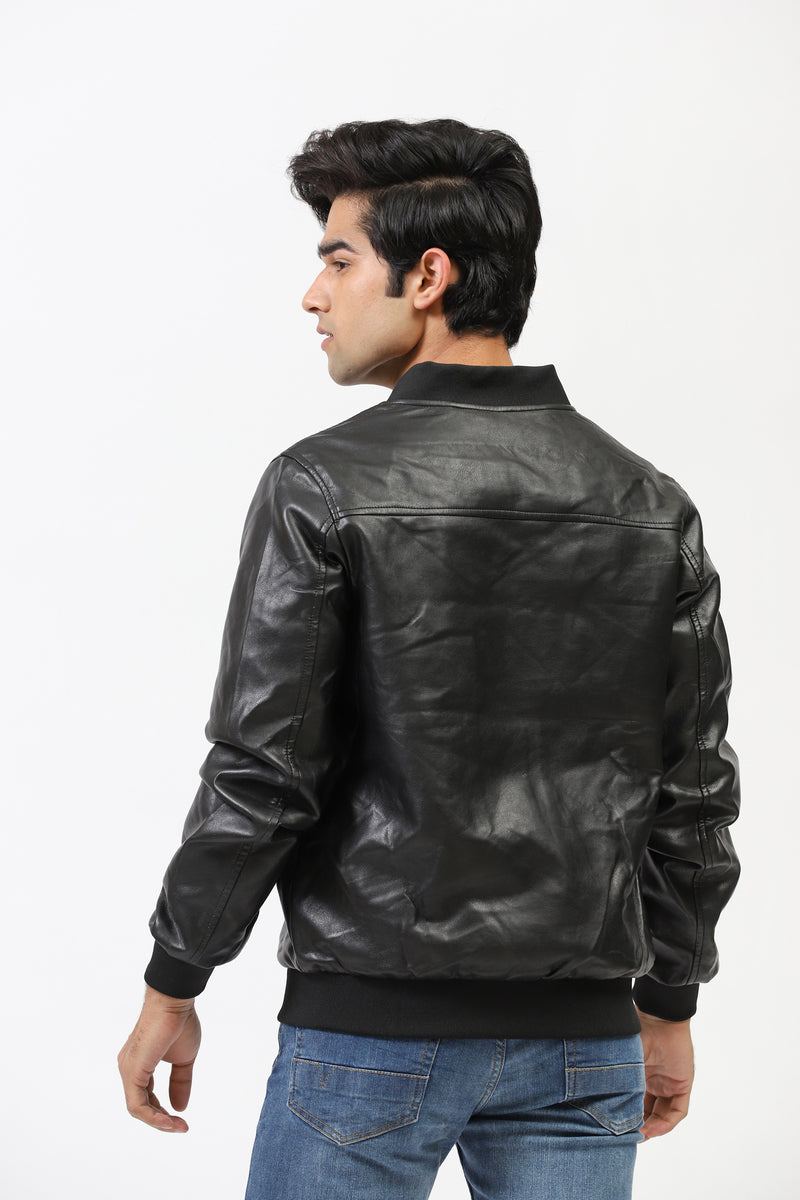 Textured Faux Leather Bomber Jacket