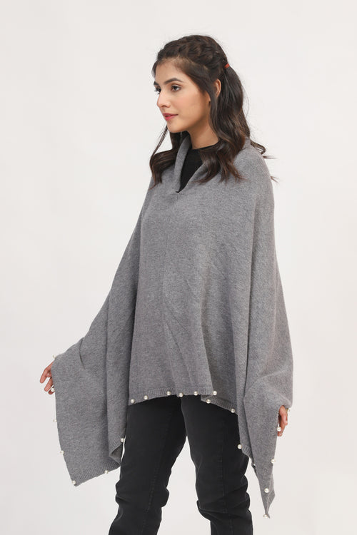 Solid Poncho With Pearls