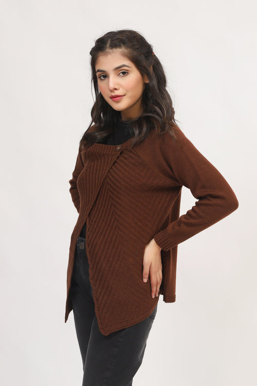 Brown Side Neck Sweater