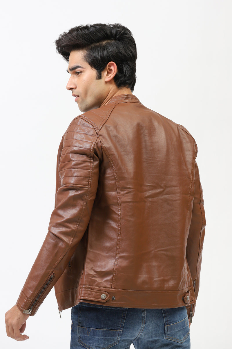 Faux Leather Jacket With Sleeves Stitching Patches