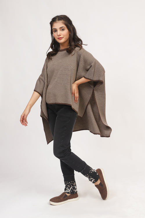 Brown Zebra Patterned Cape Shawl