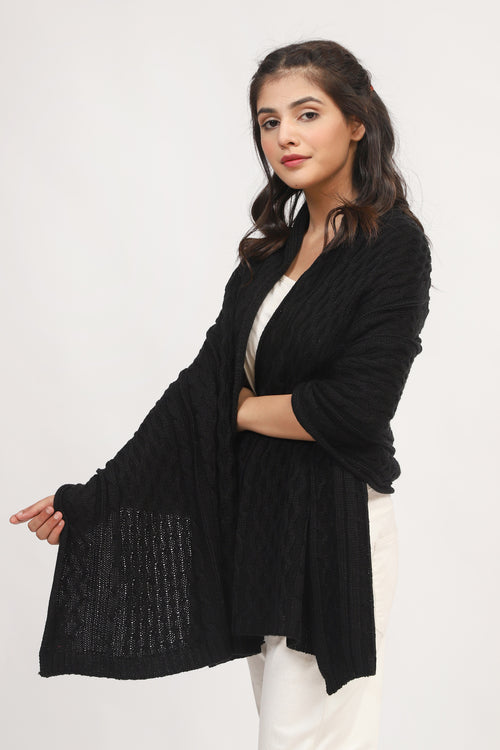 Black Cable Knit Shawl