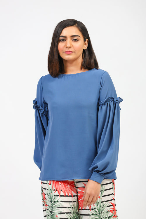 Blue Solid Top With Frilled Sleeves